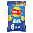Walkers cheese & onion multipack crisps - 6x25g