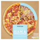 Waitrose hand stretched, thin & crispy ham & pineapple pizza - 410g