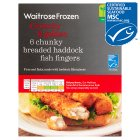 Waitrose Frozen 6 MSC line caught chunky breaded haddock fingers - 330g