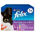 PURINA® FELIX®  Adult Cat Mixed Selection in Jelly Wet Food Pouch - 12x100g