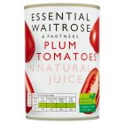 essential Waitrose tinned plum tomatoes in natural juice - 400g