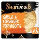 Sharwood's garlic & coriander poppadoms - 8s
