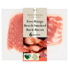 Waitrose 6 British Free Range smoked dry cured back bacon rashers - 200g