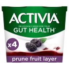 Activia fruit layer prune yogurts - 4x125g