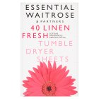 essential Waitrose fresh tumble dryer sheets - 40s