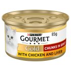 GOURMET Gold Adult Cat Chunks in Gravy Chicken & Liver Wet Food Can - 85g