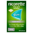 Nicorette fullstrength original chewing gum, 4mg - 105s