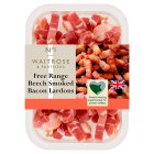 Waitrose 1 free range air dried beech smoked bacon lardons - 200g