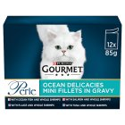 GOURMET Perle Adult Cat Mini Fillets in Gravy Ocean Delicacies Wet Cat Food Pouch - 12x85g