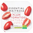 essential Waitrose plum tomatoes in natural juice, 4 pack - 4x400g