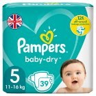 Pampers baby-dry 5 junior 11-25kg - 39s Brand Price Match - Checked Tesco.com 04/12/2013
