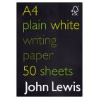 John Lewis A4 plain writing paper, Forestry Stewardship Council approved - each
