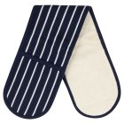 Waitrose Cooking blue butchers stripe double oven glove -