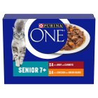 Purina ONE Senior 7+ Cat Mini Fillets in Gravy - chicken & beef wet food pouch - 8x85g