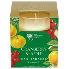 RHS cranberry & apple glass candle -