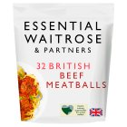 essential Waitrose 32 meatballs 100% British beef - 480g