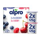 Alpro Soya Blueberry & Cherry alternative to yogurt - 4x125g Brand Price Match - Checked Tesco.com 16/04/2014