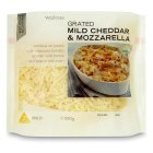 Waitrose mild grated cheddar & mozzarella cheese, strength 2 - 500g