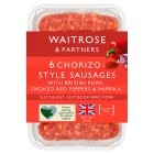 Waitrose 6 British chorizo pork sausages - 400g