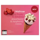 Waitrose strawberry & raspberry cones - 4x120ml