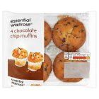 essential Waitrose chocolate chip muffins - 4s