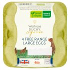 Waitrose Duchy 4 large British free range eggs - 4s