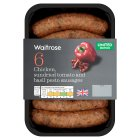 Waitrose chicken sausages with red pepper pesto - 300g