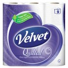 Velvet quilted toilet tissue, white - 9 rolls - 9s Brand Price Match - Checked Tesco.com 16/07/2014