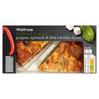 Waitrose 2 pepper, spinach & feta tortilla slices - 225g Introductory Offer