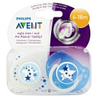 Philips Avent 6-18month night time soothers, pack of 2 - 2s