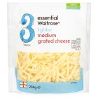 essential Waitrose Lighter Medium Grated Cheddar (3) - 250g
