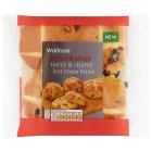 Waitrose Berry & Cherry Hot Cross Buns - 4s