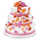 Fiona Cairns Flame Rose Petal 3-tier Wedding Cake (Fruit) -