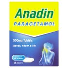 Anadin flu symptoms parcetamol tablets (pack of 16) - 16s Brand Price Match - Checked Tesco.com 28/05/2015