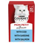 GOURMET Mon Petit Adult Cat Tempting Menu Fish Wet Cat Food Pouch - 6x50g
