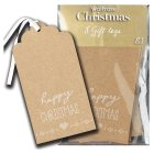 Waitrose Christmas kraft happy gift tags - 8s
