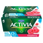 Activia fat free raspberry yogurts - 4x125g