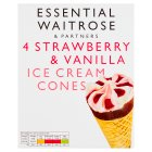 essential Waitrose strawberry & vanilla cones - 6x100ml