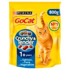 PURINA® GO-CAT® CRUNCHY&TENDER ADULT Cat with Salmon, Tuna & added Vegetables dry food - 800g