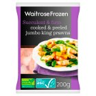 Waitrose Frozen Cooked & Peeled Jumbo King Prawns - 200g