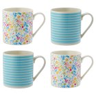 Waitrose Dining Floral and Blue Stripe Mugs - 4s