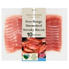 Waitrose 10 British Free Range unsmoked dry cured streaky bacon rashers - 200g