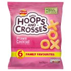 Walkers Hoops & Crosses prawn cocktail multipack crisps - 6x18g