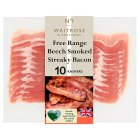 Waitrose free range air matured beech smoked streaky bacon - 230g