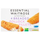 essential Waitrose Frozen 4 breaded pollock fillets - 500g