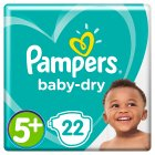 Pampers Baby Dry Sze 5+ Carry 22 Nappies - 22s