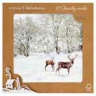 Waitrose Christmas gltr sheep stag cards - 10s