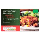 Waitrose Frozen 4 red pepper grills - 350g