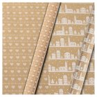 Waitrose 4m kraft gift wrap heart/house - 4m