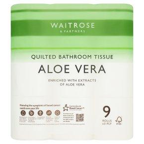 Waitrose Aloe Vera toilet tissue, pack of 9 rolls